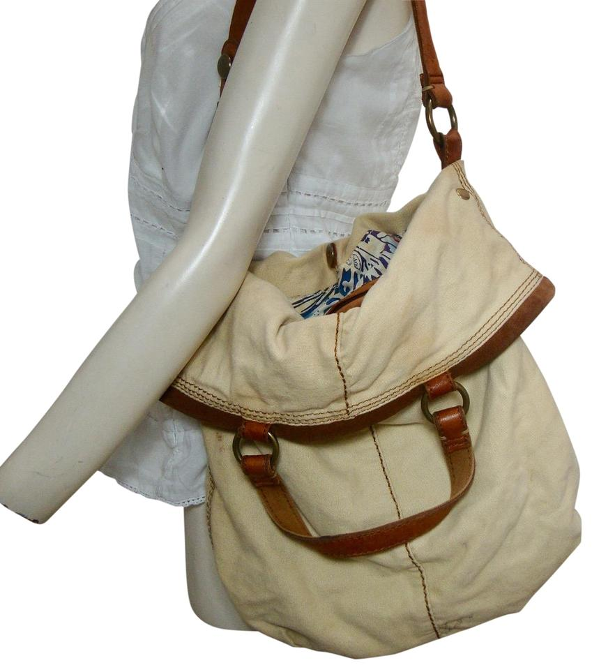 a4165a4eb1b8 Lucky Brand Slouchy Boho Sand and Brown Canvas Leather Hobo Bag 40% off  retail