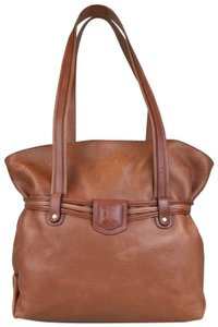 Céline Leather Shoulder Gold-tone Hardware Tote in Brown