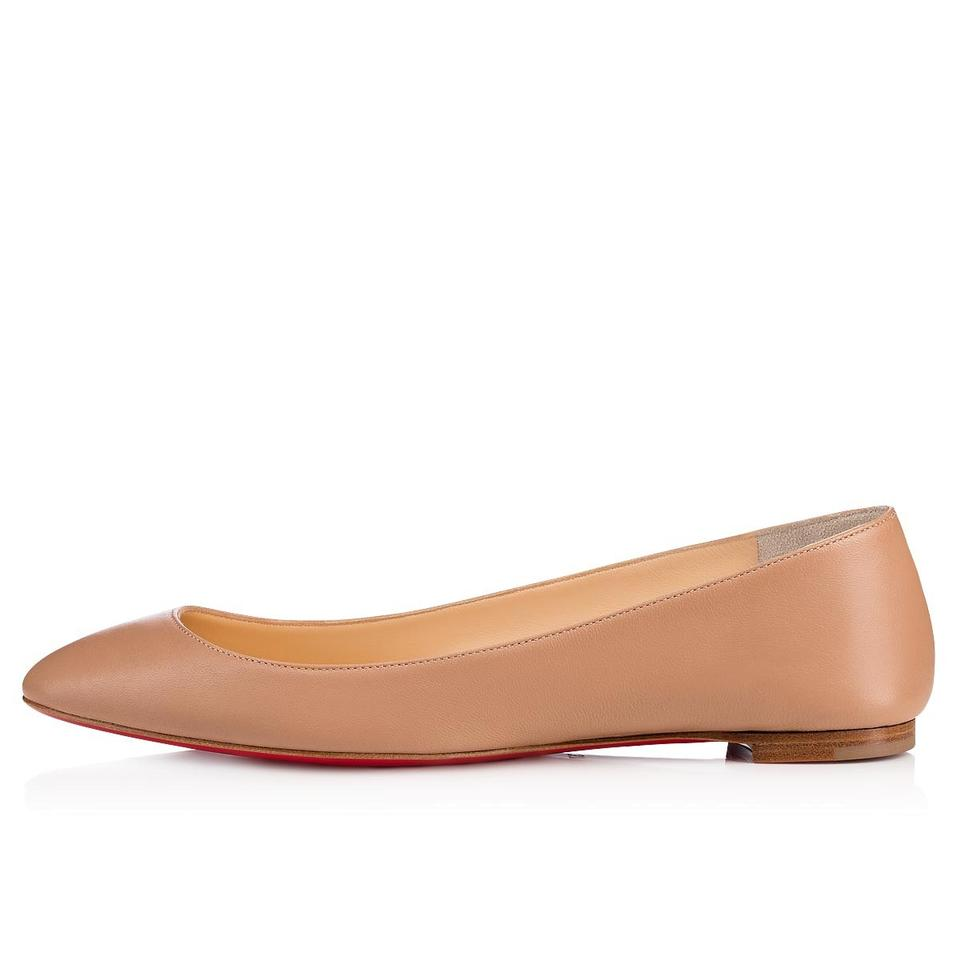 cheaper 4ad13 a79a8 Christian Louboutin Nude Eloise Beige Nappa Leather Classic Round Ballerina  Ballet Flats Size EU 37.5 (Approx. US 7.5) Regular (M, B)