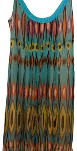 Tory Burch short dress turquoise/sky blue-based geo pattern with orange, brown, purple and yellow accents on Tradesy