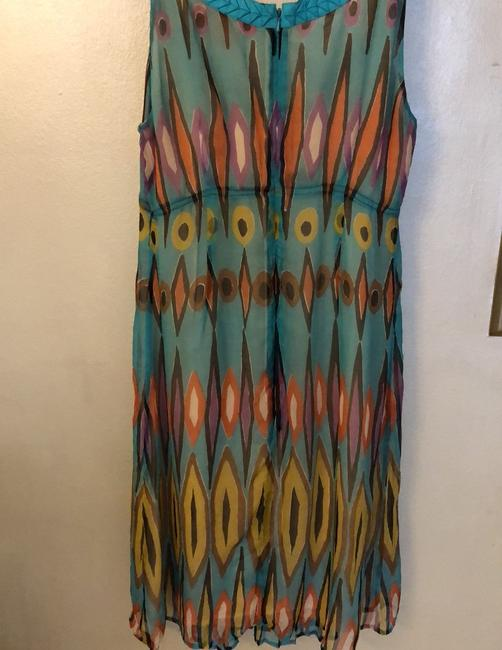 Tory Burch short dress turquoise/sky blue-based geo pattern with orange, brown, purple and yellow accents on Tradesy Image 1