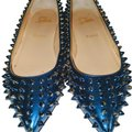 Christian Louboutin Spikes Studded Patent Leather Blue-Green Ombre Flats Image 0