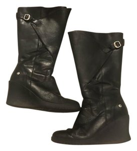 UGG Australia Winter Rain Boots Black Wedges