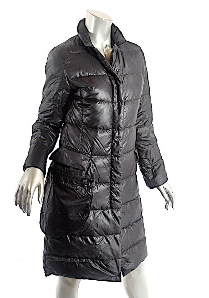 ff4dc11e83 Prada Black Nylon Down Filled Water Repellent Quilted Coat Size 4 (S)