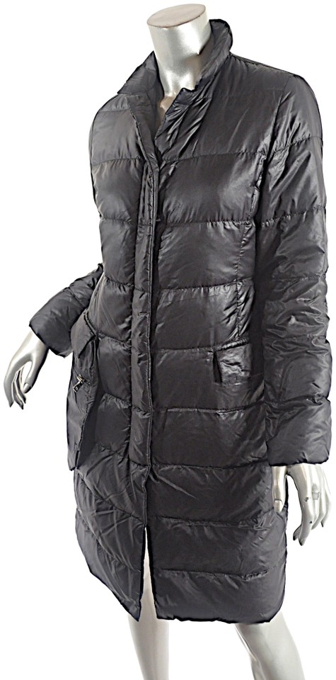 e53add70c Prada Black Nylon Down Filled Water Repellent Quilted Coat Size 4 (S)