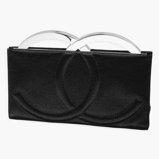 Chanel Satin Silk Cc Logo Black Clutch Image 4