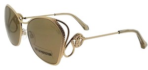 Roberto Cavalli RC1062-32G-58 Butterfly Women's Gold Frame Brown Lens Sunglasses NWT