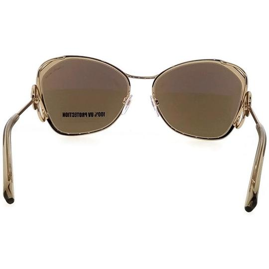 Roberto Cavalli RC1062-32G-58 Butterfly Women's Gold Frame Brown Lens Sunglasses NWT Image 3