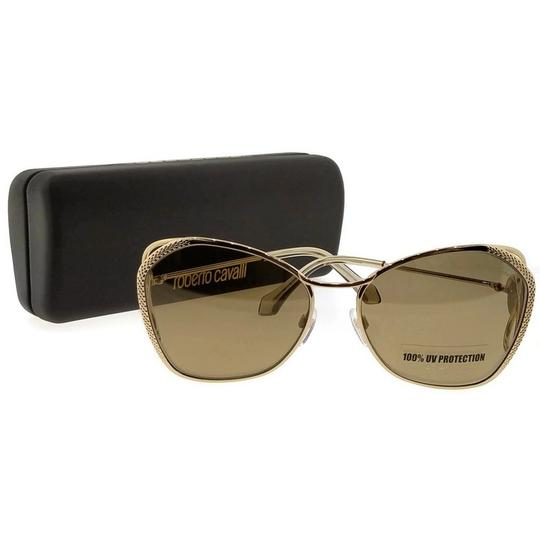 Roberto Cavalli RC1062-32G-58 Butterfly Women's Gold Frame Brown Lens Sunglasses NWT Image 4