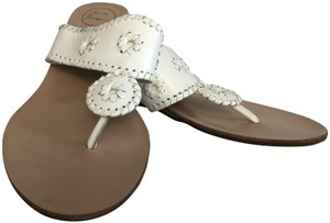 Jack Rogers Leather Wedge White Sandals