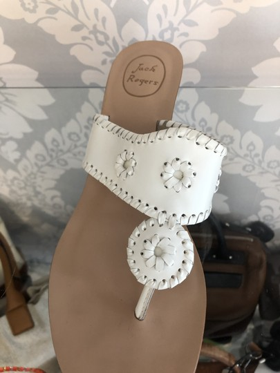 Jack Rogers Leather Wedge White Sandals Image 3