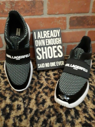 Karl Lagerfeld Rue44 Zadieesneaker Blackwhitesneakers Sliponknitshoes Black & White Athletic Image 1