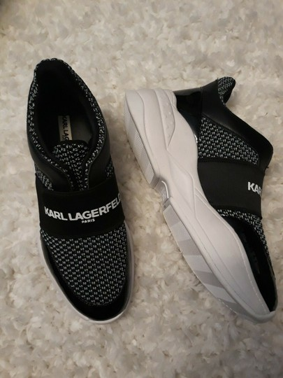 Karl Lagerfeld Rue44 Zadieesneaker Blackwhitesneakers Sliponknitshoes Black & White Athletic Image 2