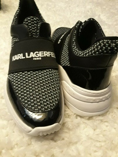 Karl Lagerfeld Rue44 Zadieesneaker Blackwhitesneakers Sliponknitshoes Black & White Athletic Image 4