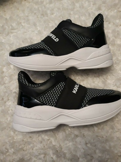 Karl Lagerfeld Rue44 Zadieesneaker Blackwhitesneakers Sliponknitshoes Black & White Athletic Image 5
