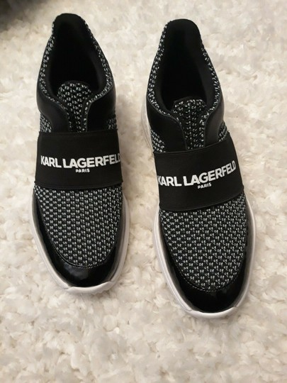 Karl Lagerfeld Rue44 Zadieesneaker Blackwhitesneakers Sliponknitshoes Black & White Athletic Image 6