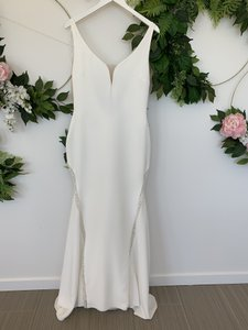 Pronovias Off White and Crystal Crepe Tulle Colonia Sexy Wedding Dress Size 8 (M)