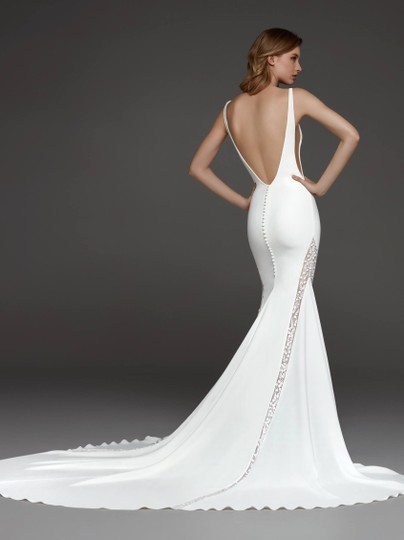 Pronovias Off White and Crystal Crepe Tulle Colonia Sexy Wedding Dress Size 8 (M) Image 10