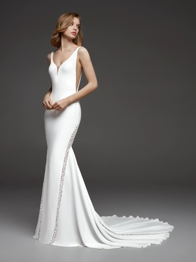 Pronovias Off White and Crystal Crepe Tulle Colonia Sexy Wedding Dress Size 8 (M) Image 9