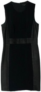 Theory Sleeveless Leather Fitted Zipper Dress
