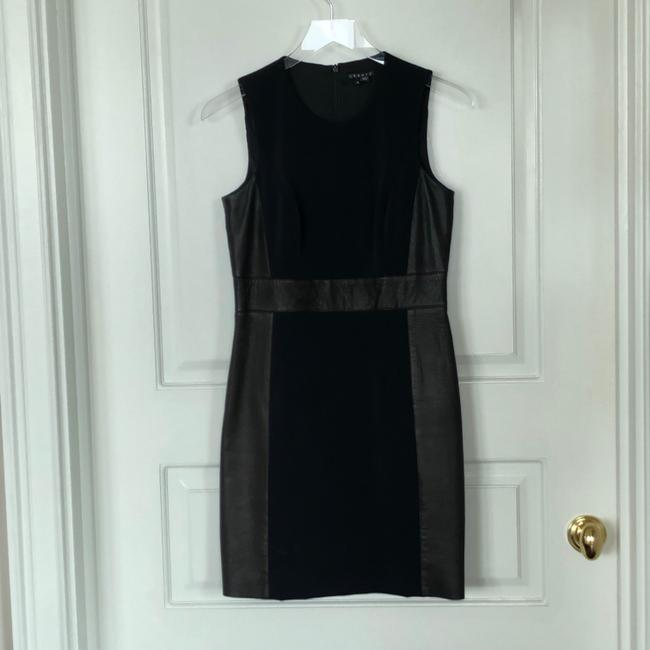 Theory Sleeveless Leather Fitted Zipper Dress Image 2