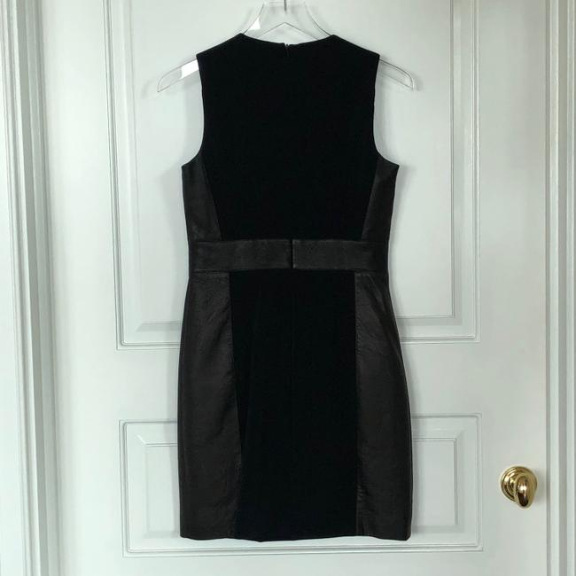 Theory Sleeveless Leather Fitted Zipper Dress Image 3