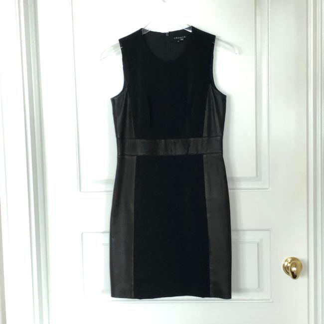Theory Sleeveless Leather Fitted Zipper Dress Image 4