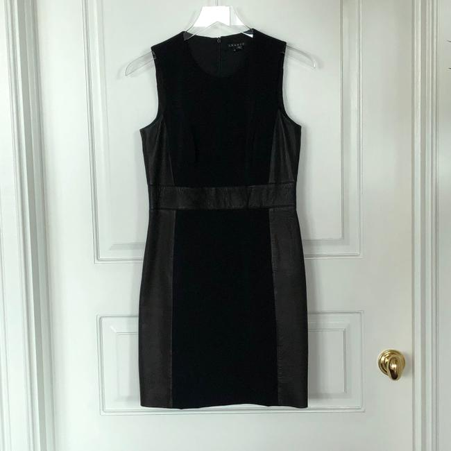 Theory Sleeveless Leather Fitted Zipper Dress Image 5