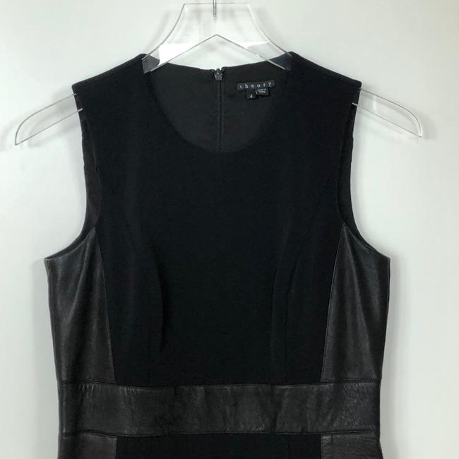 Theory Sleeveless Leather Fitted Zipper Dress Image 6