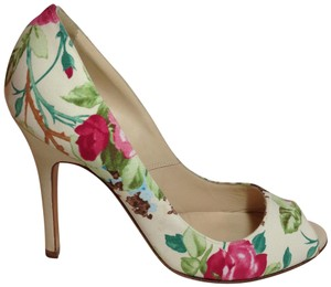 Luciano Padovan Satin/Leather Open Toe Multi-color (pink/ivory/green) Pumps