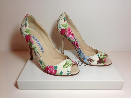 Luciano Padovan Satin/Leather Open Toe Multi-color (pink/ivory/green) Pumps Image 1