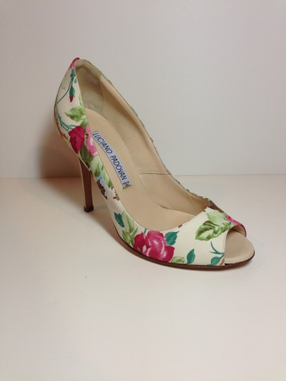 Luciano Padovan Satin/Leather Open Toe Multi-color (pink/ivory/green) Pumps Image 2