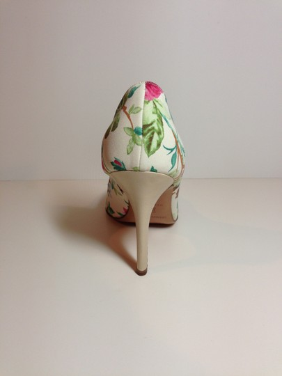 Luciano Padovan Satin/Leather Open Toe Multi-color (pink/ivory/green) Pumps Image 3