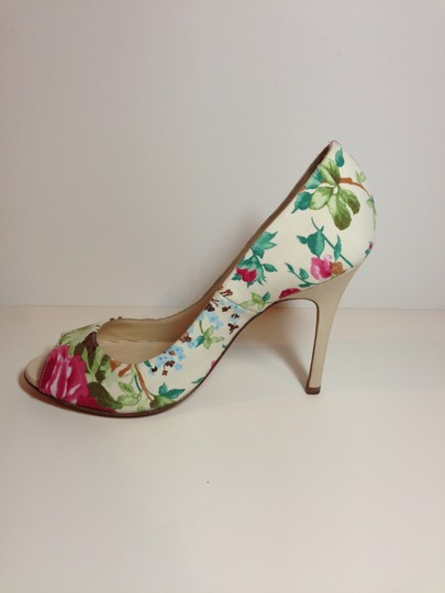 Luciano Padovan Satin/Leather Open Toe Multi-color (pink/ivory/green) Pumps Image 4