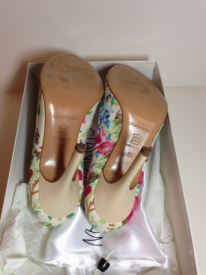 Luciano Padovan Satin/Leather Open Toe Multi-color (pink/ivory/green) Pumps Image 5