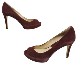 Michael Kors Platform Peep Toe Suede Purple, Red Pumps