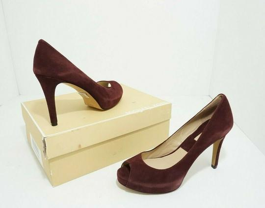 Michael Kors Platform Peep Toe Suede Purple, Red Pumps Image 1