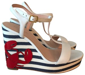 Kate Spade navy and white Wedges
