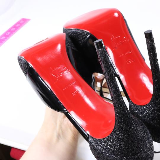 Christian Louboutin Glitter Cross Strap Platform Black Pumps Image 10