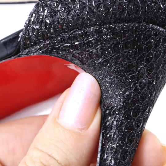 Christian Louboutin Glitter Cross Strap Platform Black Pumps Image 11