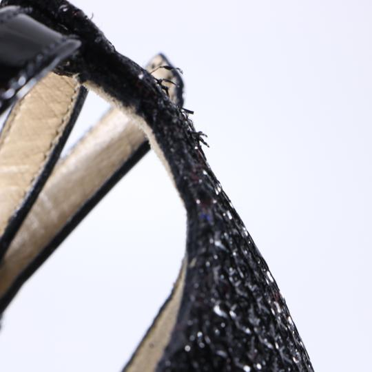 Christian Louboutin Glitter Cross Strap Platform Black Pumps Image 3