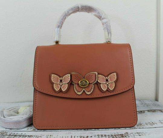 Coach Satchel in Peach/Brass Image 7