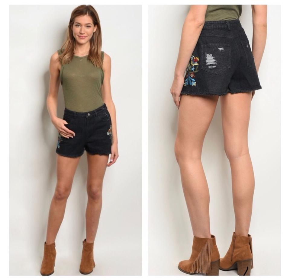 cc209e14026 Very J Black Embroidered Denim High Waisted Shorts Size 4 (S, 27) 41% off  retail