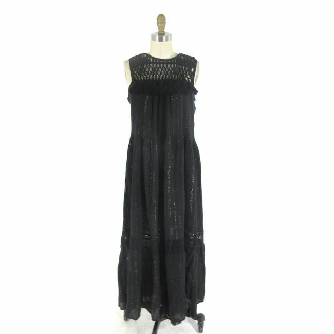 Black Maxi Dress by Maeve Anthropologie Maxi Metallic Image 0