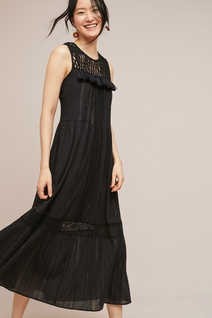 Black Maxi Dress by Maeve Anthropologie Maxi Metallic Image 1