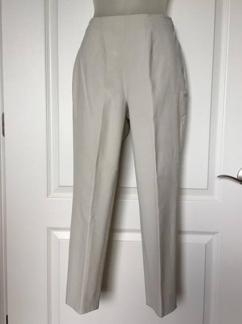 Piazza Sempione Leg Crop Made In Italy Hidden Side Zipper 95%cotton/5%lycra Straight Pants Cream eggshell Image 1