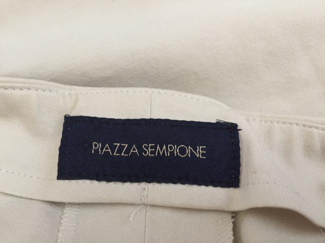Piazza Sempione Leg Crop Made In Italy Hidden Side Zipper 95%cotton/5%lycra Straight Pants Cream eggshell Image 2