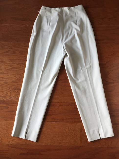 Piazza Sempione Leg Crop Made In Italy Hidden Side Zipper 95%cotton/5%lycra Straight Pants Cream eggshell Image 5