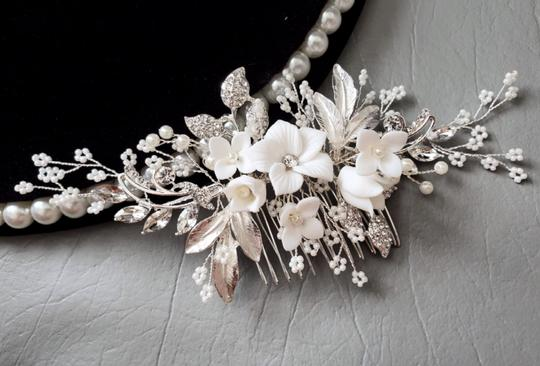 Silver New Flower Headpiece Comb Clip Pin Veil Hair Accessory Image 1