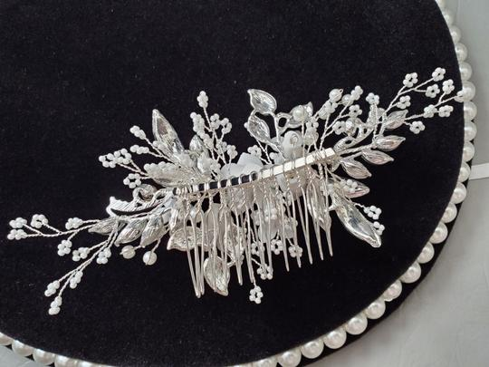Silver New Flower Headpiece Comb Clip Pin Veil Hair Accessory Image 2